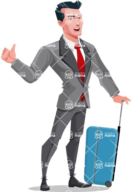 Modern Flat Style Businessman Cartoon Character - Traveling with suitcase
