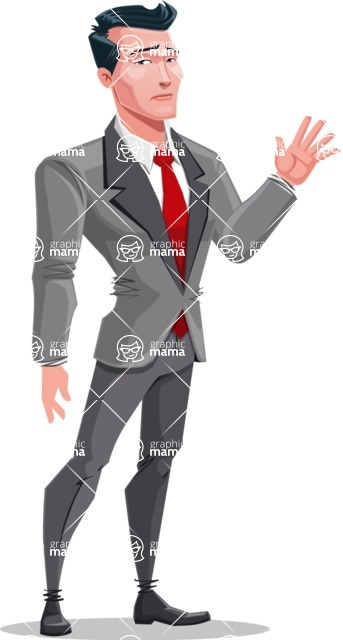 Modern Flat Style Businessman Cartoon Character - Waving for goodbye with a hand