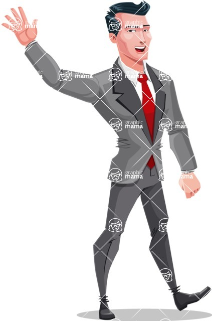 Modern Flat Style Businessman Cartoon Character - Waving for hello with a hand