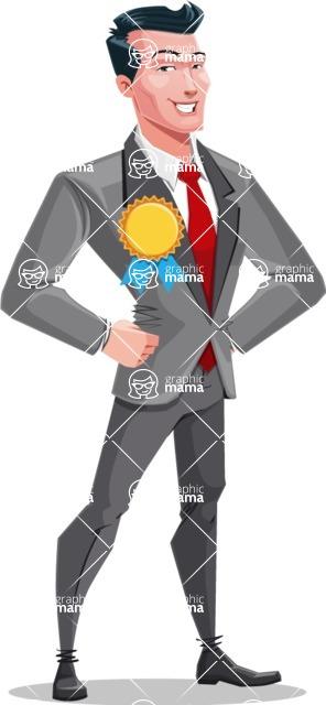 Modern Flat Style Businessman Cartoon Character - Winning prize