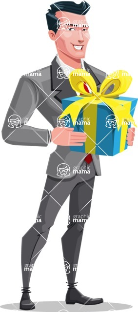 Modern Flat Style Businessman Cartoon Character - With a birthday present