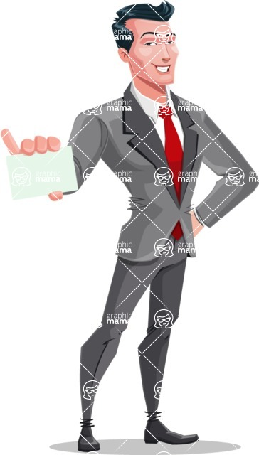 Modern Flat Style Businessman Cartoon Character - With a blank business card
