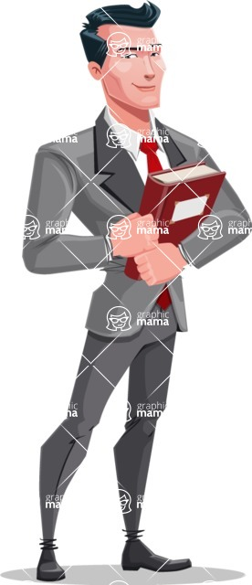 Modern Flat Style Businessman Cartoon Character - With a book and smiling face