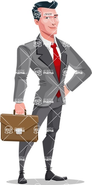 Modern Flat Style Businessman Cartoon Character - With a business briefacase
