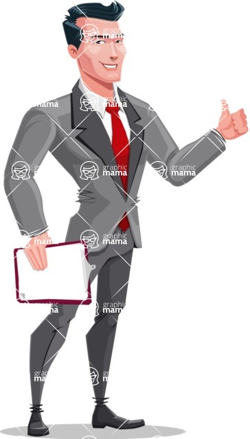 Modern Flat Style Businessman Cartoon Character - With a notepad and thumbs up