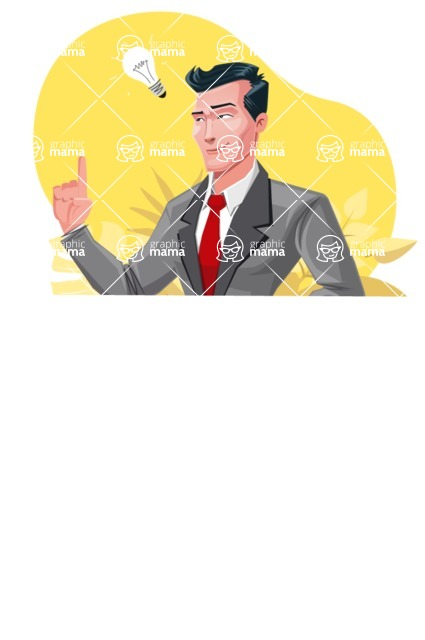Modern Flat Style Businessman Cartoon Character - With an idea