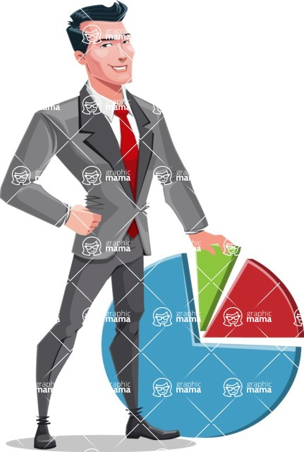 Modern Flat Style Businessman Cartoon Character - With business graph