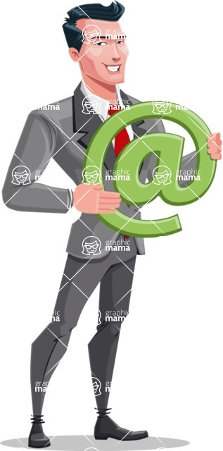 Modern Flat Style Businessman Cartoon Character - With email sign