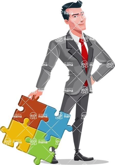 Modern Flat Style Businessman Cartoon Character - With puzzle