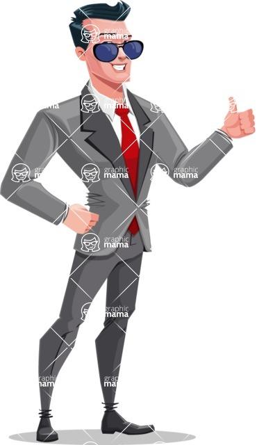 Modern Flat Style Businessman Cartoon Character - With sunglasses