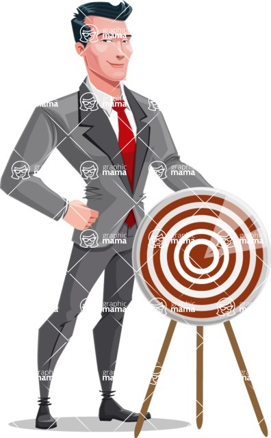 Modern Flat Style Businessman Cartoon Character - With target