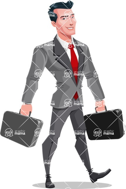 Modern Flat Style Businessman Cartoon Character - With two briefcases