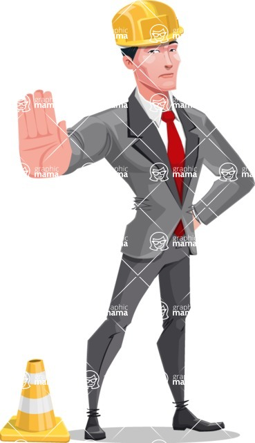 Modern Flat Style Businessman Cartoon Character - With under construction sign
