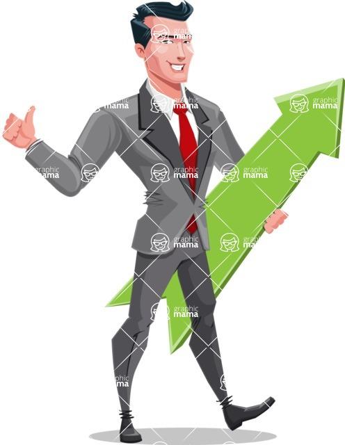 Modern Flat Style Businessman Cartoon Character - With upwards arrow