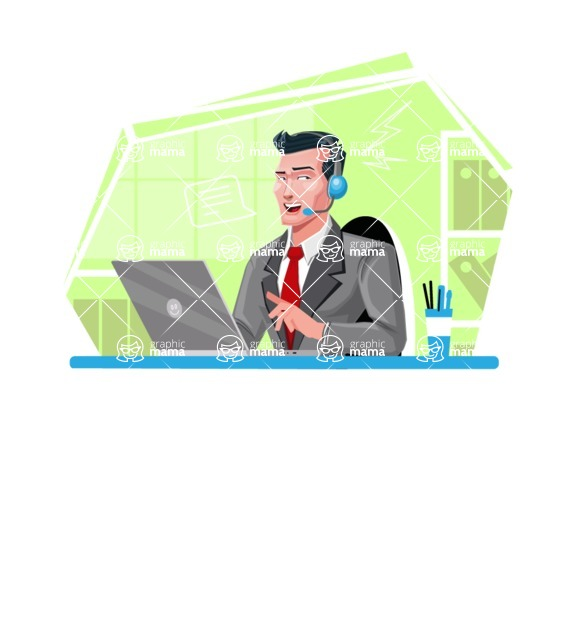 Modern Flat Style Businessman Cartoon Character - Working as customer support