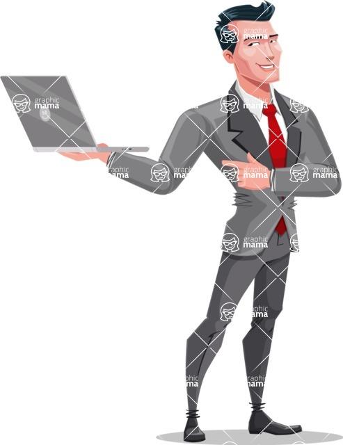 Modern Flat Style Businessman Cartoon Character - Working on a laptop
