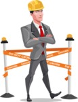 Modern Flat Style Businessman Cartoon Character - Dressed as construction worker