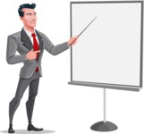 Modern Flat Style Businessman Cartoon Character - Presenting on a blank whiteboard