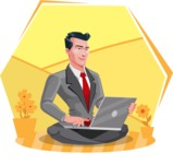 Modern Flat Style Businessman Cartoon Character - Sitting on ground with laptop