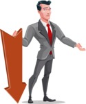Modern Flat Style Businessman Cartoon Character - With arrow going down