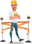 Modern Style Casual Man Cartoon Character - Dressed as construction worker