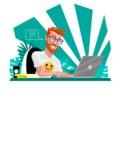 Modern Style Casual Man Cartoon Character - Focused on work