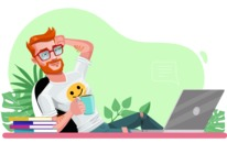 Modern Style Casual Man Cartoon Character - Relaxing at desk