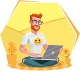 Modern Style Casual Man Cartoon Character - Sitting on ground with laptop