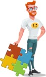 Modern Style Casual Man Cartoon Character - With puzzle