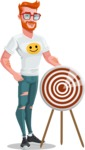 Modern Style Casual Man Cartoon Character - With target