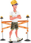 Modern Teenager Vector Character - Dressed as construction worker