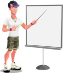 Modern Teenager Vector Character - Presenting on a blank whiteboard