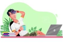 Modern Teenager Vector Character - Relaxing at desk