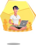 Modern Teenager Vector Character - Sitting on ground with laptop