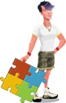 Modern Teenager Vector Character - With puzzle