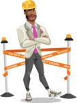 Modern Style African-American Man Vector Character - Dressed as construction worker