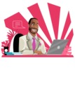 Modern Style African-American Man Vector Character - Focused on work