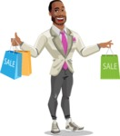 Modern Style African-American Man Vector Character - Holding shopping bags from sale