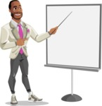 Modern Style African-American Man Vector Character - Presenting on a blank whiteboard
