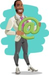 Modern Style African-American Man Vector Character - shape12