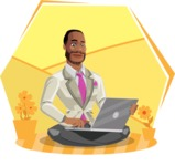 Modern Style African-American Man Vector Character - Sitting on ground with laptop