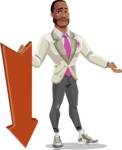 Modern Style African-American Man Vector Character - With arrow going down