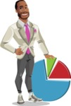 Modern Style African-American Man Vector Character - With business graph