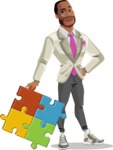Modern Style African-American Man Vector Character - With puzzle