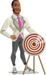 Modern Style African-American Man Vector Character - With target