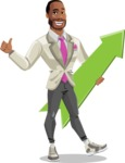 Modern Style African-American Man Vector Character - With upwards arrow