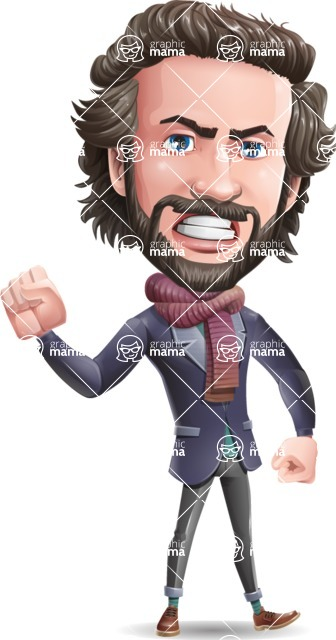 Stylish Man Cartoon Vector Character - with Angry face