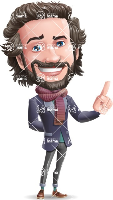 Stylish Man Cartoon Vector Character - Making a point