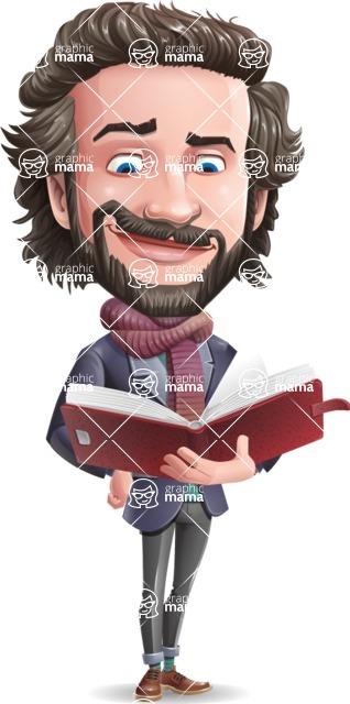 Stylish Man Cartoon Vector Character - Reading a book