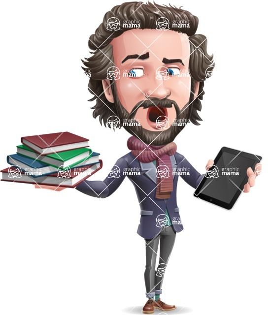 Stylish Man Cartoon Vector Character - Choosing between Book and Tablet